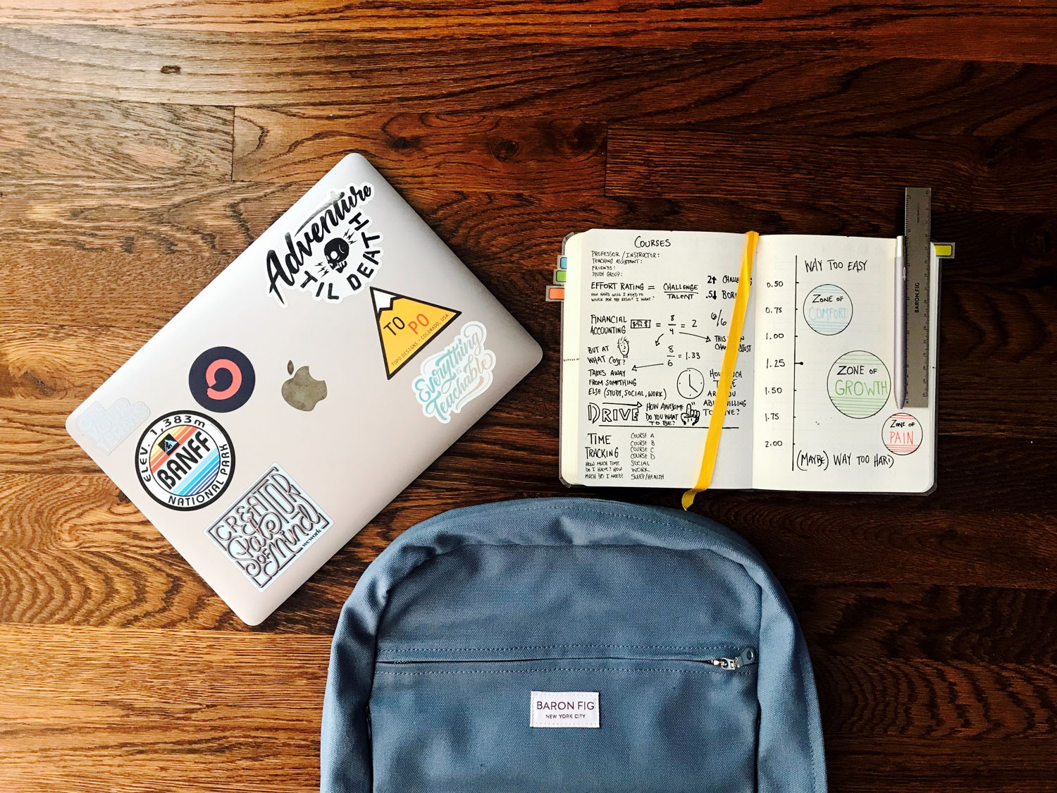 Backpack and notebook