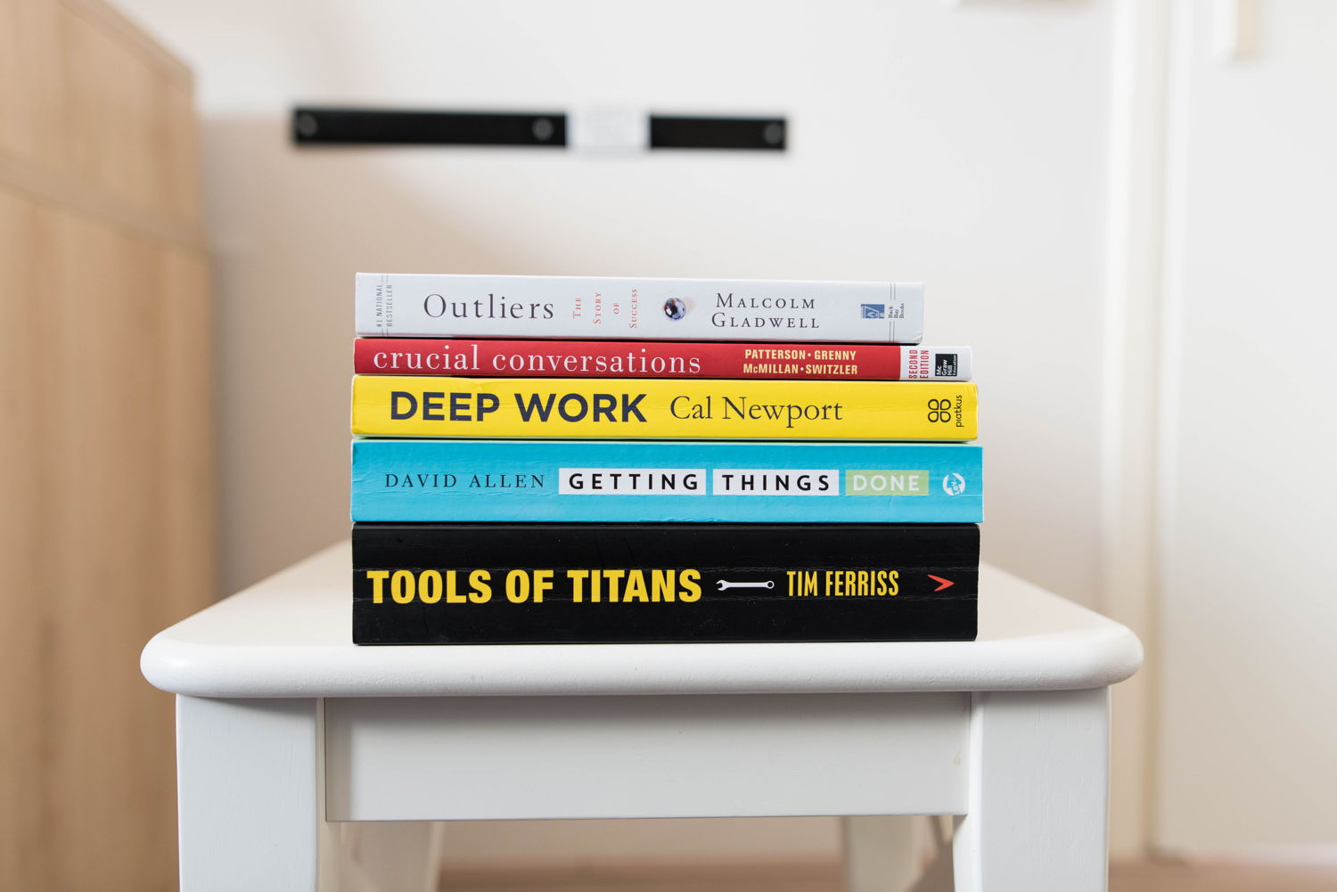 Stack of books, Deep Work by Cal Newport