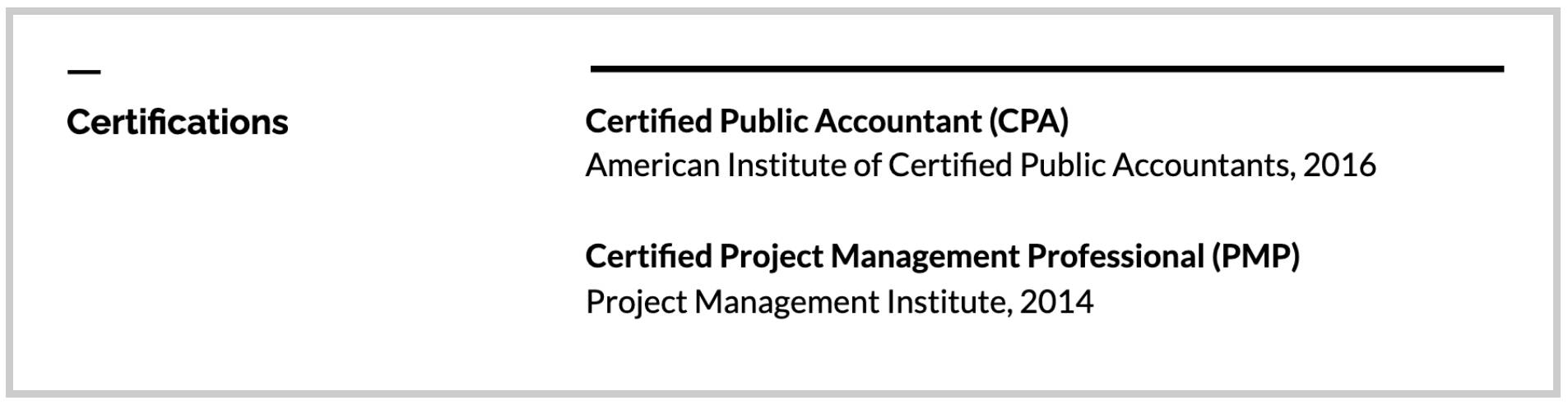 Certification listed in its own section example