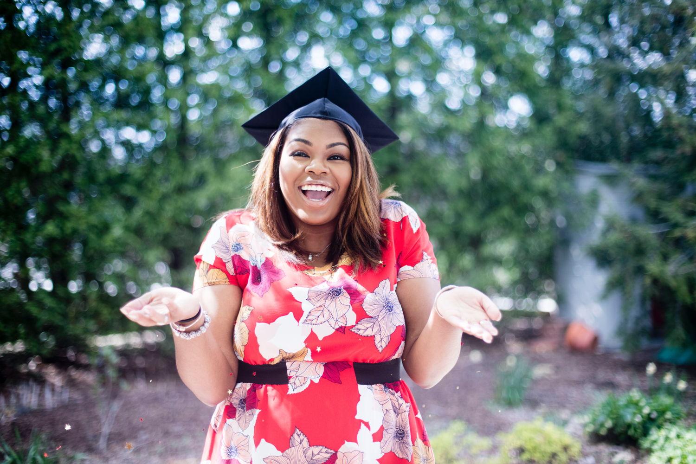 Woman on graduation day
