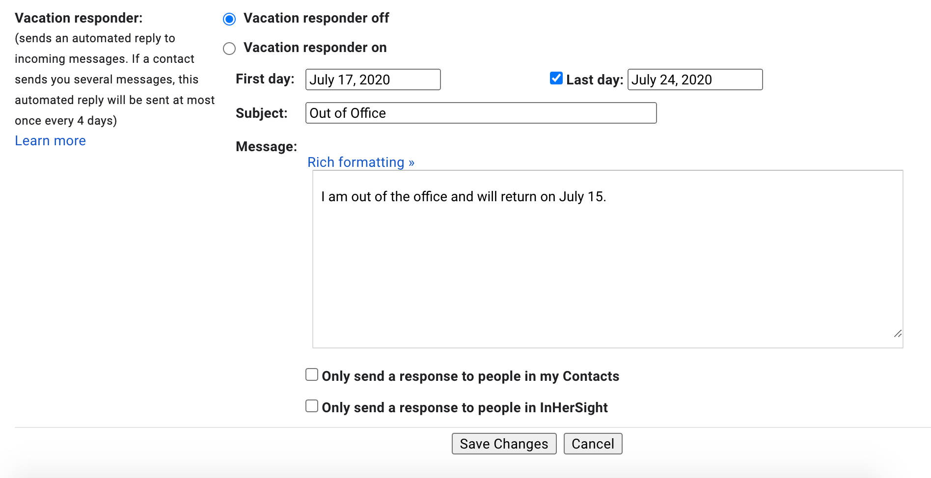How to set an out of office message in Gmail