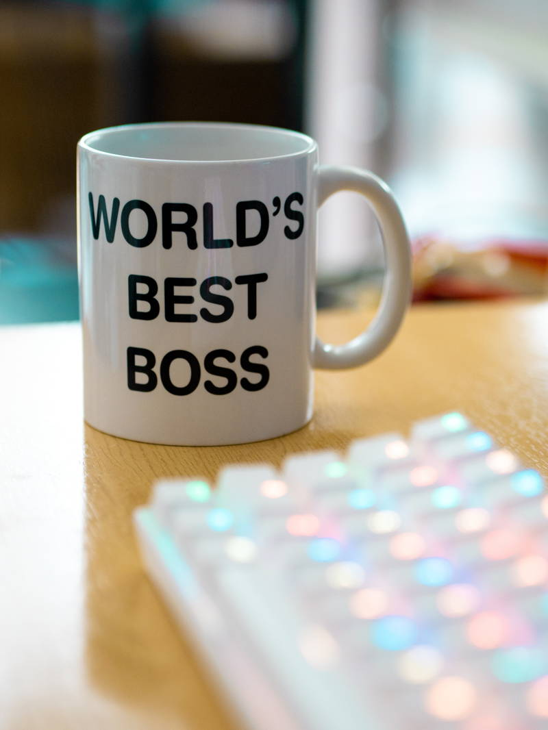 "A coffee mug that says ""world's best boss"""