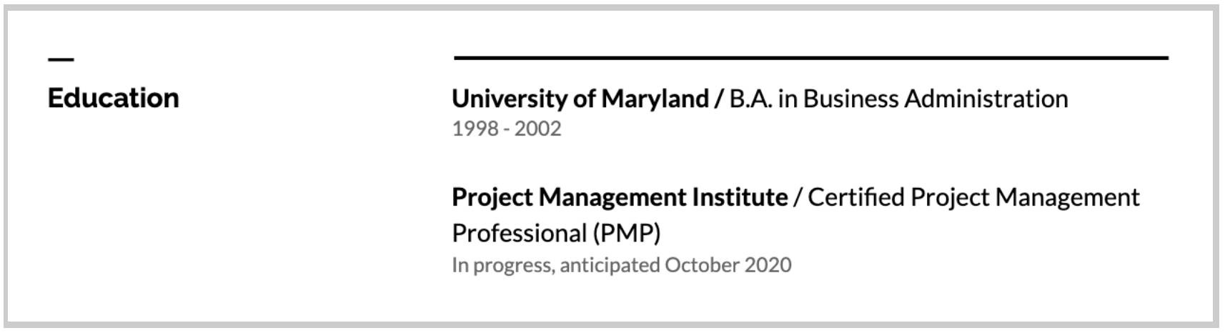 Certification listed in education section example
