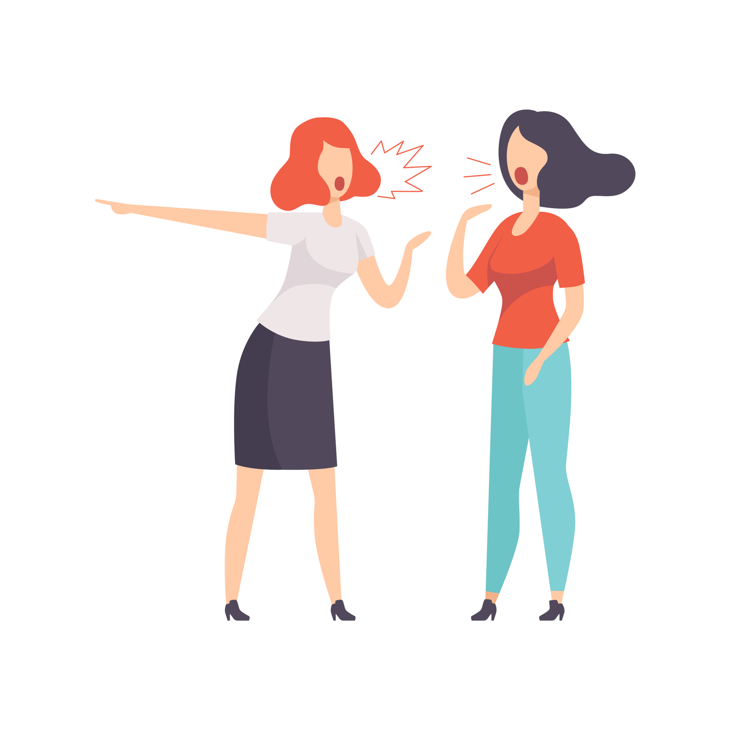 Illustration of two women shouting at each other