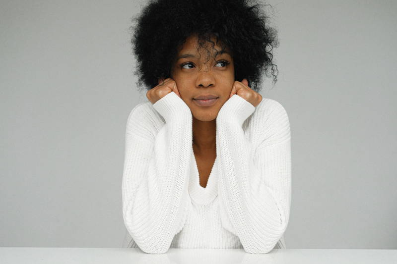 Woman looking uncertain