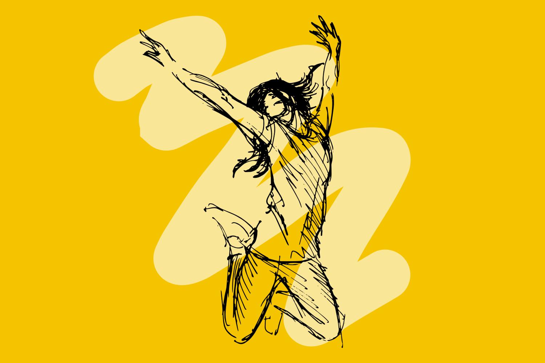 Woman celebrating illustration