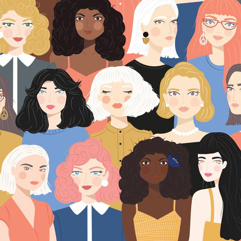 Women's faces illustration