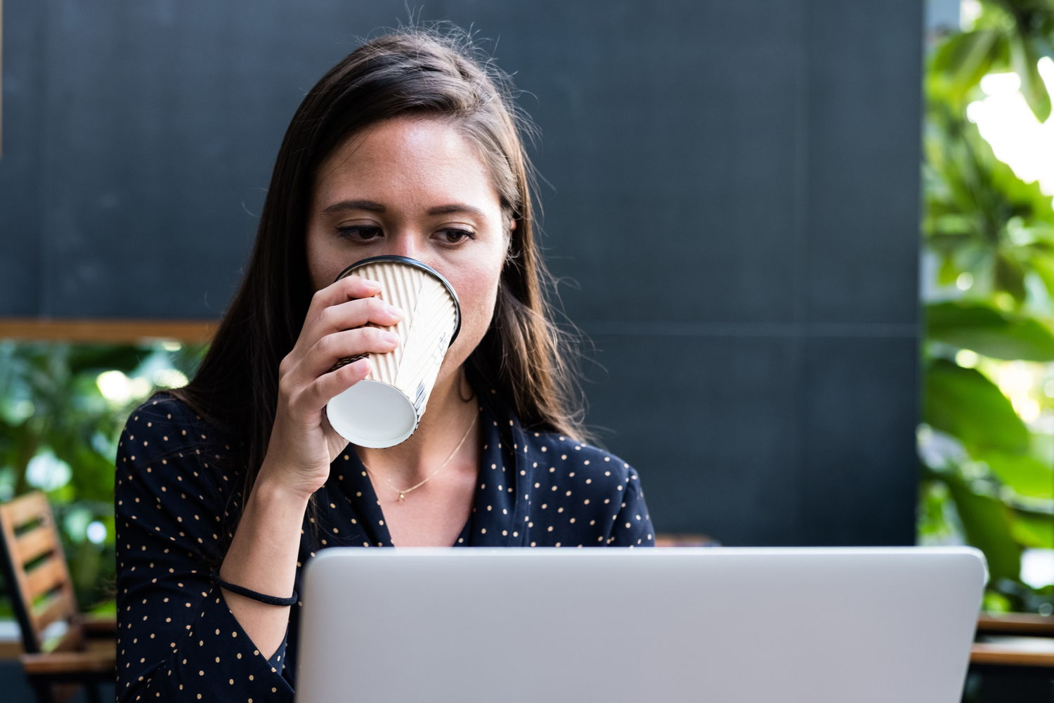 Woman researching wage discrimination