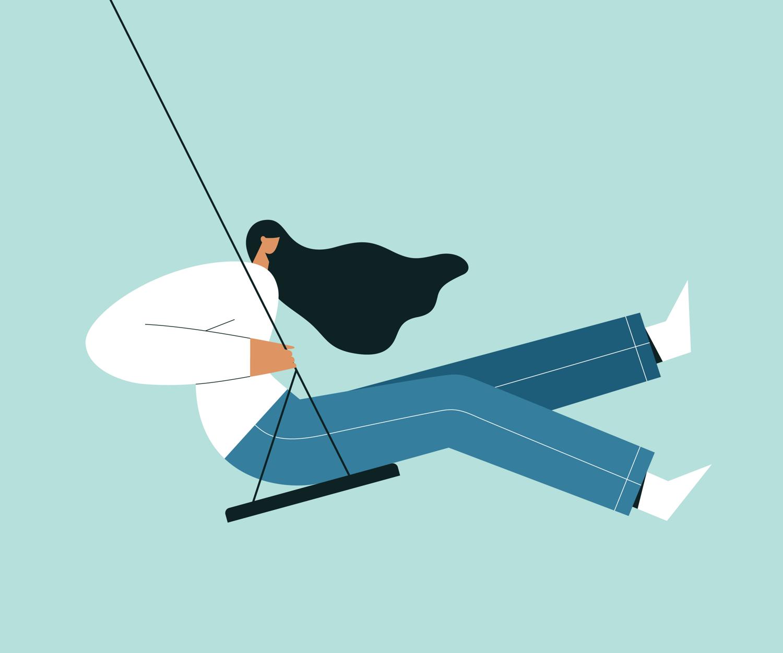 Woman on a swing illustration