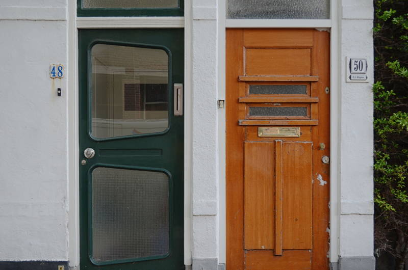 Two very different looking doors
