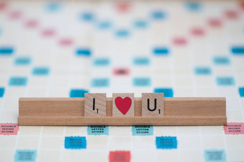 I heart you scrabble pieces