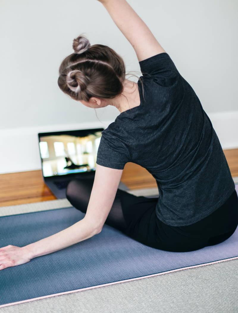 Women leading a virtual yoga class