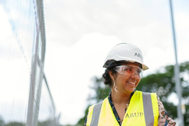 Woman wearing a hard hat