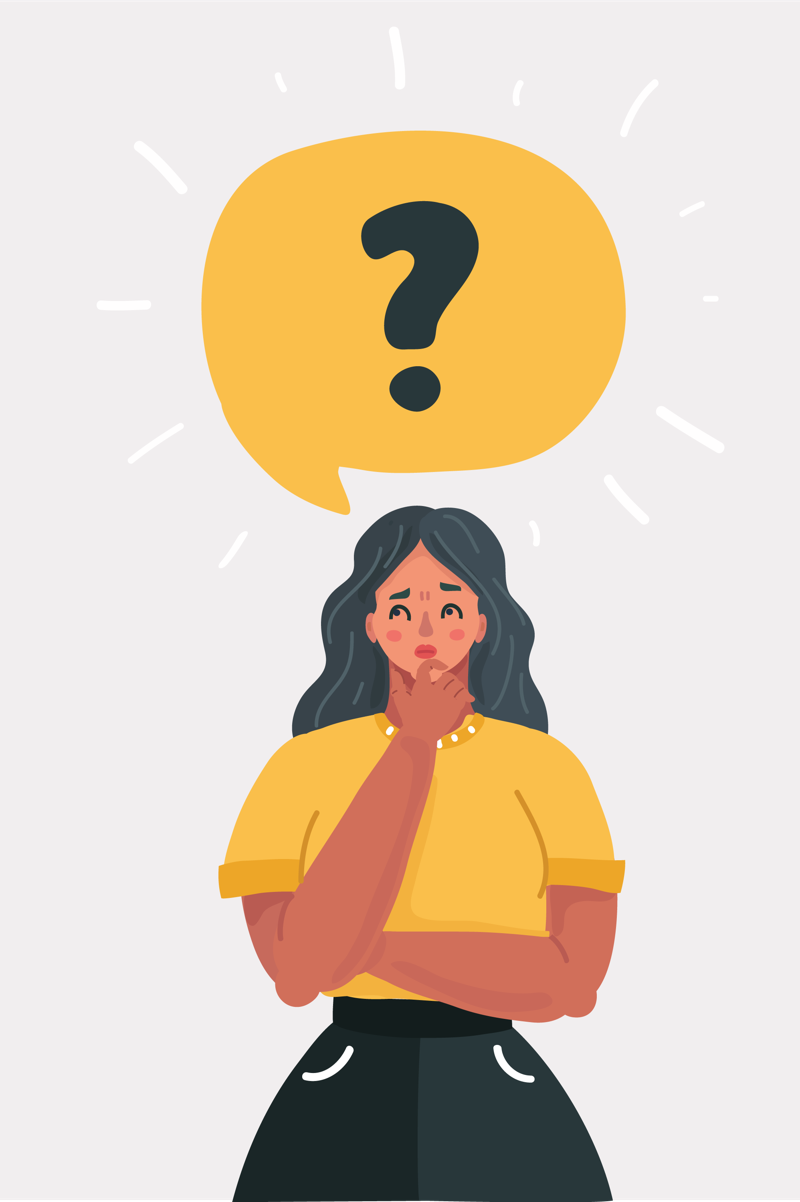 Woman wondering illustration