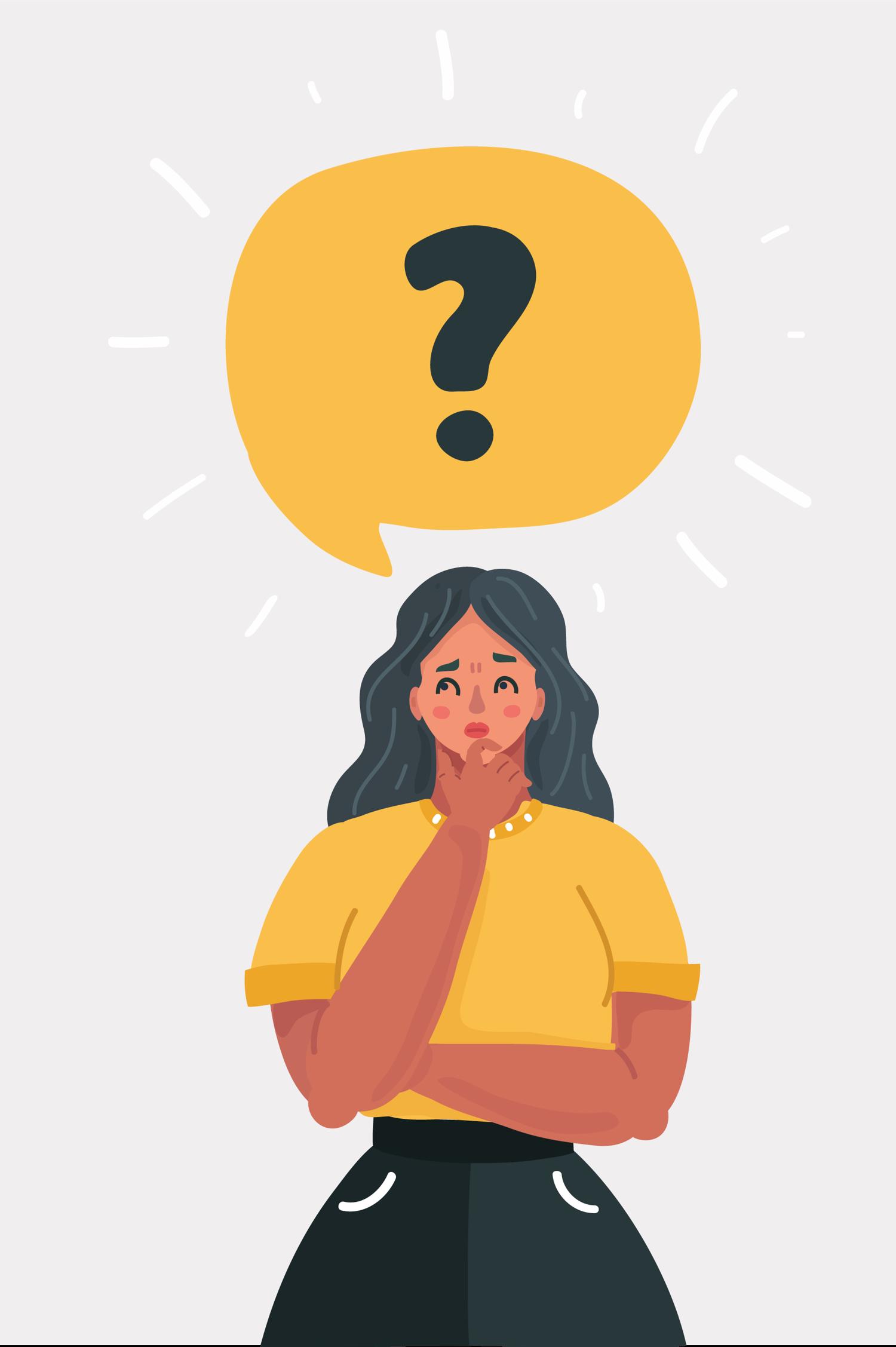 Woman wondering illustration
