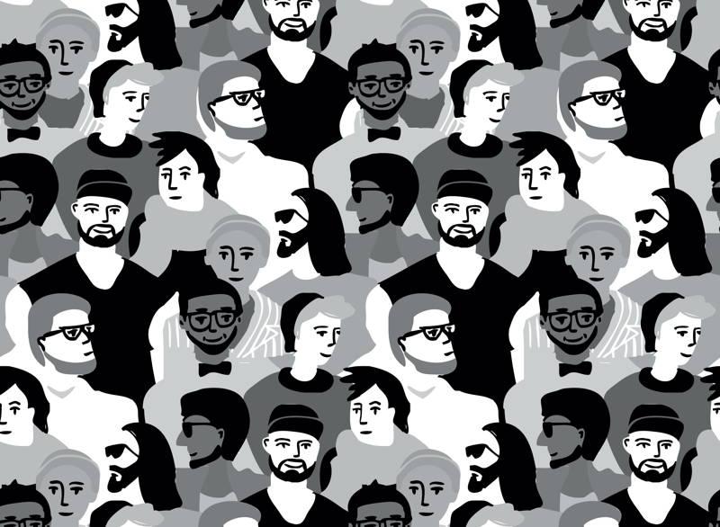 Black and white illustration of men