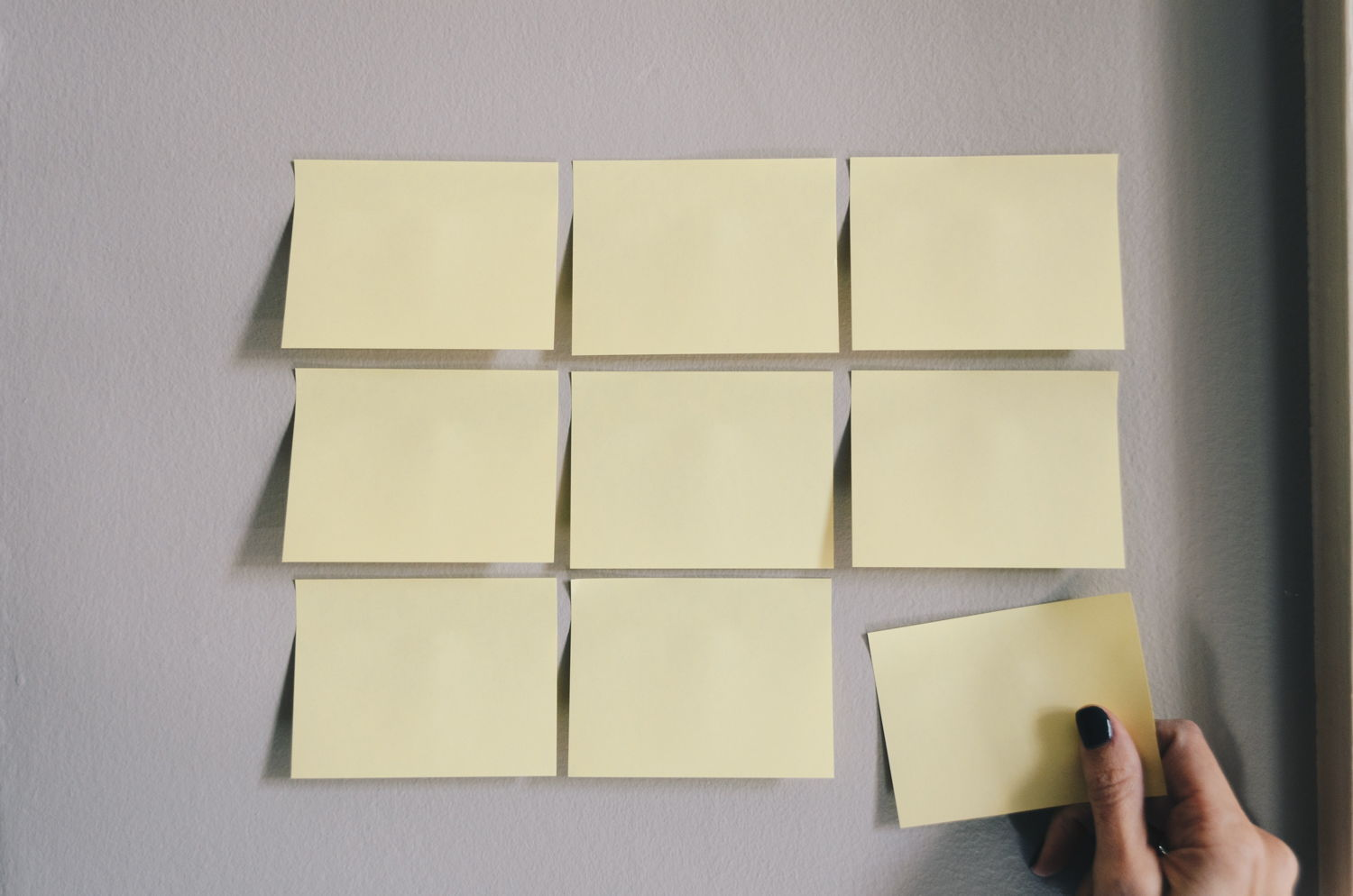 very organized post-it notes