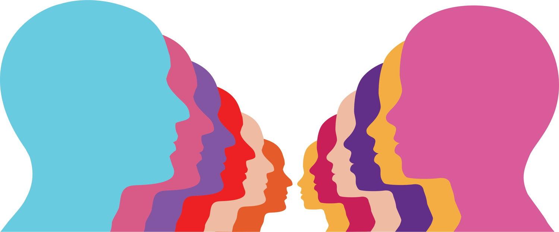illustraton of men and women in multicolor