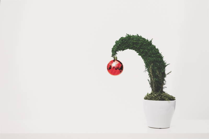 Christmas tree bending because of the weight of an ornament