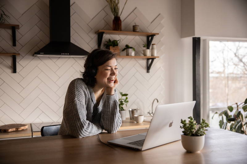 Woman talking on a video call