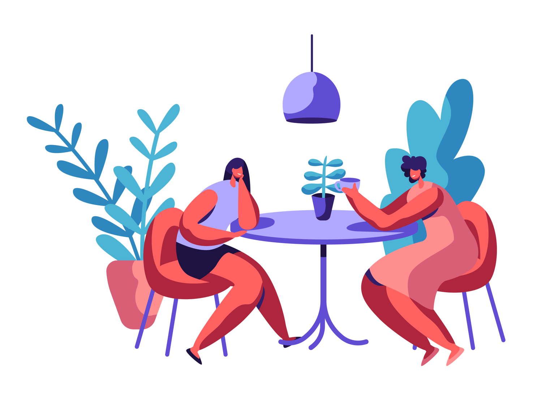 Women having an informational interview illustration