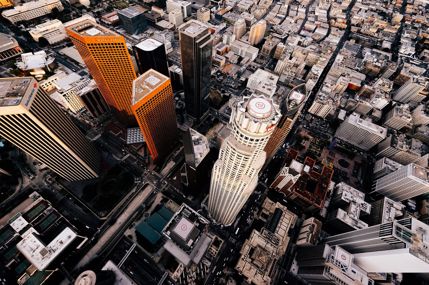 Drone photo of downtown Los Angeles