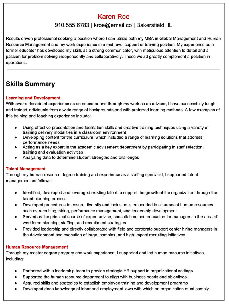 Functional Resume layout example